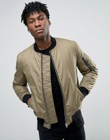 Asos Waxed Cotton Bomber Jacket In Tobacco