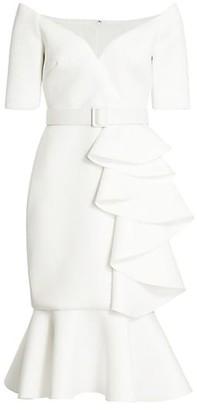 Badgley Mischka Belted Ruffle Dress