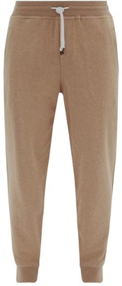 Brunello Cucinelli Ribbed-cuff Cotton-blend Track Pants - Beige
