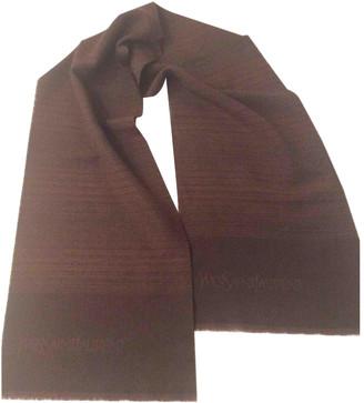 Saint Laurent Brown Wool Scarves