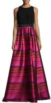Carmen Marc Valvo Sleeveless Crepe & Striped Taffeta Ball Gown, Fuchsia