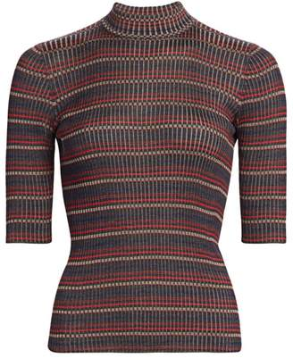 Akris Silk Knit Striped Mockneck Tee