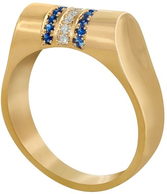 Edge Only 14Ct Gold Sapphire And Diamond High Top Ring