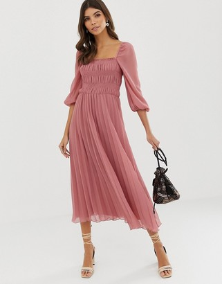 Asos Design DESIGN shirred pleated midi dress-Pink