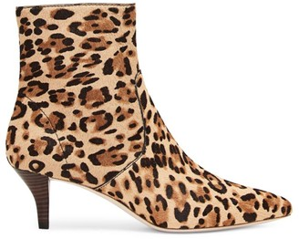 Loeffler Randall Kassidy Leopard-Print Calf Hair Ankle Boots