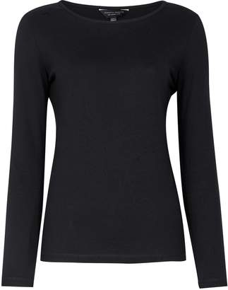 Dorothy Perkins Womens Black Plain Long Sleeve Crew Neck Cotton T