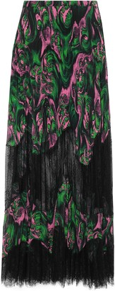 McQ Lace-paneled Pleated Georgette Maxi Skirt
