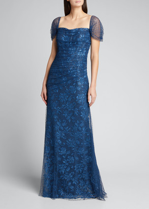 Rickie Freeman For Teri Jon Point D'Esprit Draped Over Lace Off-the-Shoulder Gown