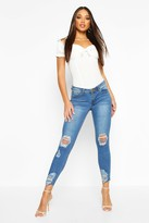 boohoo Lauren Distressed Knee And Ankle Skinny Jeans mid blue
