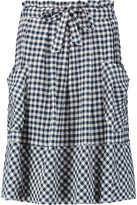 Sea Gingham crinkled stretch-cotton skirt