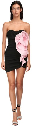 Alexandre Vauthier Compact Crepe Mini Dress W/ Flower