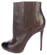 Brian Atwood Leather Cap-Toe Ankle Boots