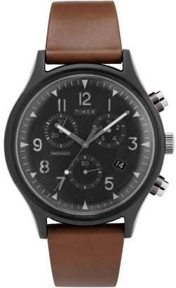 Timex MK1 Supernova Chronograph 42mm Dark Brown Leather Strap Watch