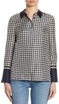 Tory Burch Marea Geometric Silk Button-Down Shirt