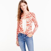J.Crew Lightweight wool Jackie cardigan sweater in palm leaf print