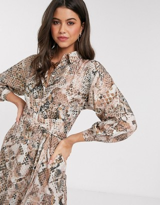 Closet London Closet kimono sleeve shirt dress in light snake print