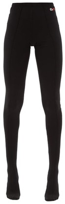 Balenciaga High-rise Logo-print Cotton-blend Jersey Leggings - Black