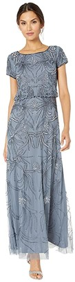 Adrianna Papell Beaded Blouson Evening Gown (Dusty Blue) Women's Dress