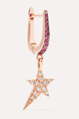 Diane Kordas Cosmos Star 18-karat Rose Gold, Diamond And Sapphire Earring