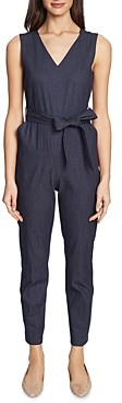 Vince Camuto Sleeveless Faux-Denim Belted Jumpsuit