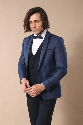 Wessi Men's Slimfit Jacke Gemusterte Weste Smoking Tuxedo