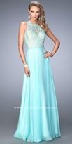 La Femme Leaf Embroidered Sheer Back Prom Gown