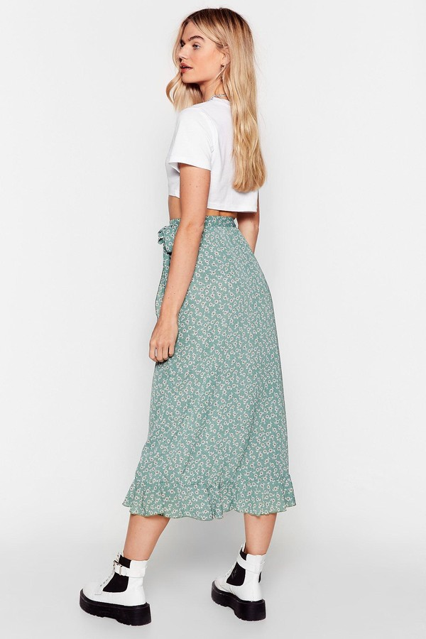 Thumbnail for your product : Nasty Gal Womens Flowy Wrap Floral Midi Skirt - Green - 6