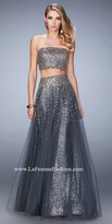 La Femme Two Piece Cascading Beaded Prom Dress
