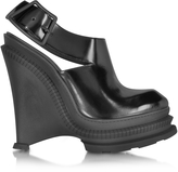 Kenzo Black Leather High Wedge Sandal