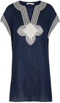 Tory Burch Navy Embroidered Linen Tunic Dress