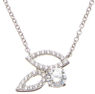 FANTASIA Cz Open Leaf Pendant Necklace