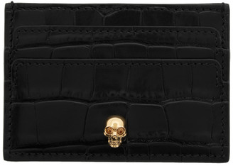 Alexander McQueen Black Croc Skull Card Holder
