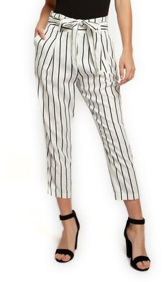 Off-White Devoted Women's Casual Pants 91707-OFF & Black Stripe Tie-Waist Linen-Blend Crop Paper Bag Pants - Women
