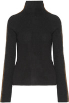 Haider Ackermann Velvet-trimmed Wool And Cashmere-blend Turtleneck Sweater - Black
