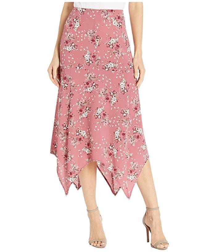 Kensie Charmed Bouquets Shark Bite Skirt KS0K6349