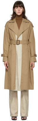 Victoria Beckham Beige Fitted Trench Coat