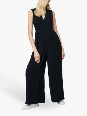 French Connection Carrabelle Crepe Pleated Jumpsuit, Black