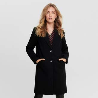 Only Long Straight Tailored Collar Coat with Single-Breasted Buttons