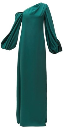 Carolina Herrera Knotted-back Asymmetric Silk Crepe Gown - Womens - Dark Green