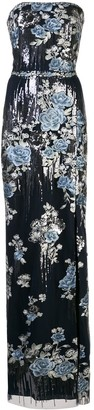 Marchesa Floral Sequin Embroidered Gown