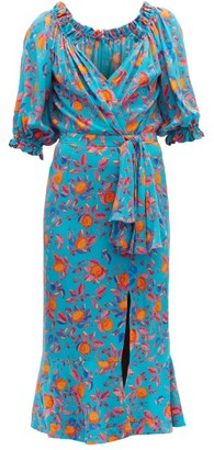 Saloni Olivia Citrus-print Silk-georgette Midi Dress - Womens - Blue Print