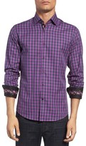 Stone Rose Trim Fit Embroidered Trim Dobby Gingham Sport Shirt