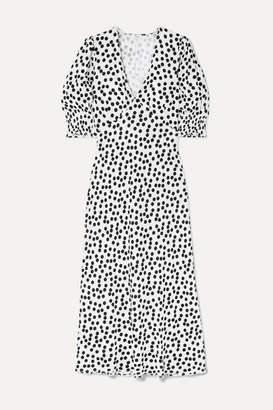 Rixo Zadie Polka-dot Crepe Midi Dress - White