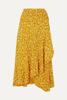 Faithfull The Brand Jasper Floral-print Crepe Wrap Skirt - Saffron