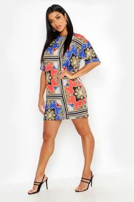 boohoo Chain Print Oversized Shift Dress