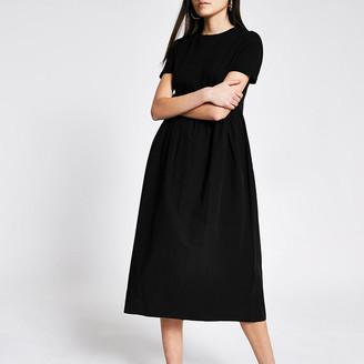 River Island Black poplin midi T-shirt dress