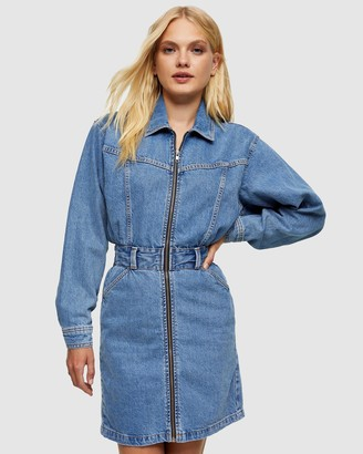 Topshop Women's Blue Mini Dresses - Denim LS Zip-Through Shirt Dress - Size 6 at The Iconic