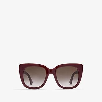 Gucci GG0163S (Shiny Solid Burgundy/Brown Gradient) Fashion Sunglasses