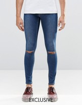 Cheap Monday Jeans Low Spray Extreme Super Skinny Mid Blue Ripped Knee