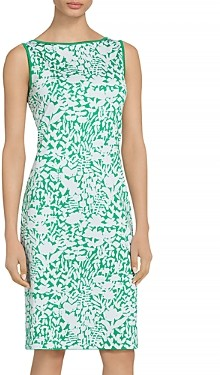 St. John Floral Jacquard Knit Bateau Neck Dress